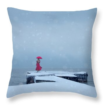 Lady In Red On Snowy Pier Throw Pillow