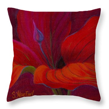 Throw Pillow featuring the painting Lady In Red by Sandi Whetzel