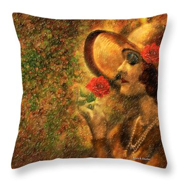 Lady In The Flower Garden Throw Pillow by Angela A Stanton