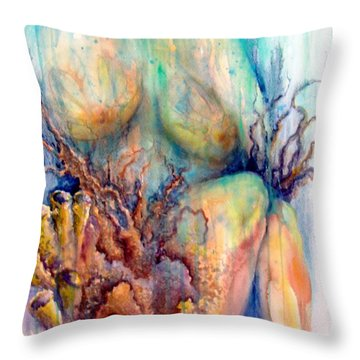 Throw Pillow featuring the painting Lady In The Reef by Ashley Kujan