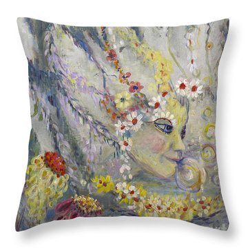 Throw Pillow featuring the painting Lady In The Waterfall by Avonelle Kelsey