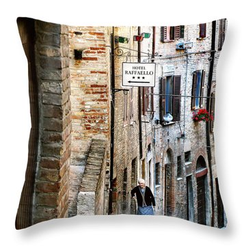 Lady In Urbino Throw Pillow by Jennie Breeze