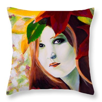 Lady Leaf Throw Pillow by Denise Deiloh
