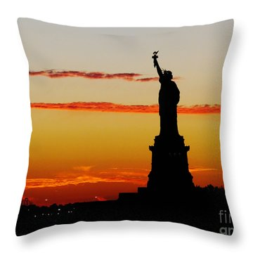 Throw Pillow featuring the photograph Lady Liberty At Sunset by Susan Wiedmann