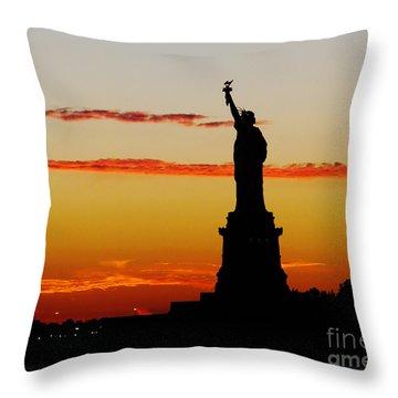 Lady Liberty At Sunset Throw Pillow