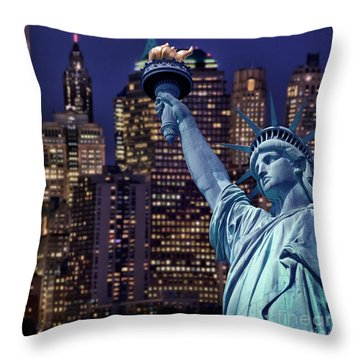 Lady Liberty By Night Throw Pillow by Delphimages Photo Creations