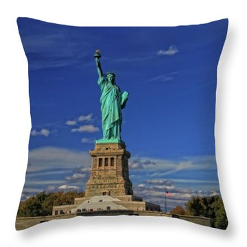Lady Liberty In New York City Throw Pillow by Dan Sproul