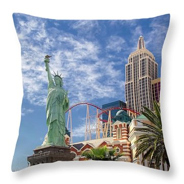 Lady Liberty In Vegas Throw Pillow