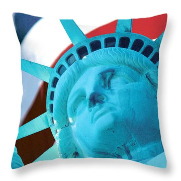 Throw Pillow featuring the photograph Lady Liberty  by Jerry Fornarotto