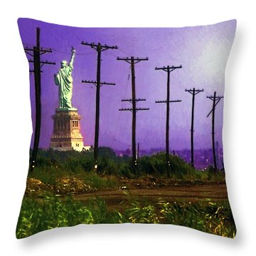 Lady Liberty Lost Throw Pillow