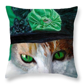 Lady Little Girl Cats In Hats Throw Pillow
