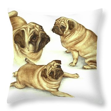Lady Marmalade Of Lydiard Pug Throw Pillow by Nan Wright