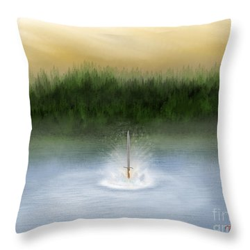 Lady Of Avalon Throw Pillow by Thomas OGrady
