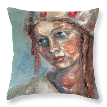 Lady Of Hearts Throw Pillow by Carrie Joy Byrnes