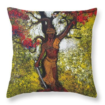 Lady Of Justice Throw Pillow