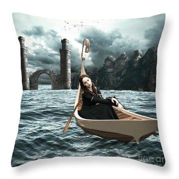 Lady Of Llyn-y-fan Fach Throw Pillow by Linda Lees