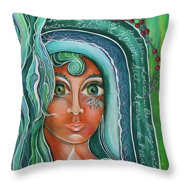 Throw Pillow featuring the painting Lady Of Lourdes Madonna by Deborha Kerr