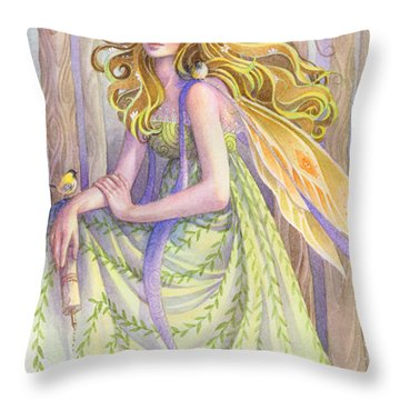 Lady Of The Forest Throw Pillow by Sara Burrier