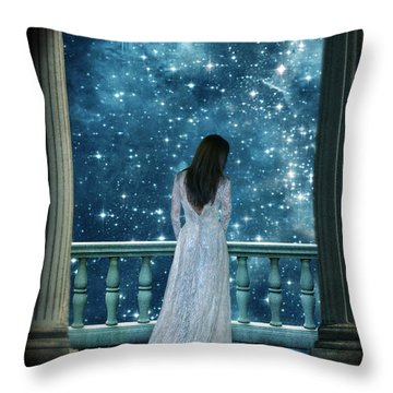 Lady On Balcony At Night Throw Pillow