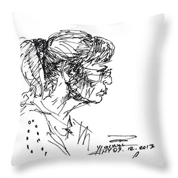 Lady Profile Throw Pillow