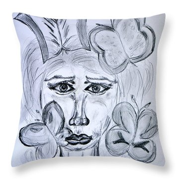 Lady Queen Of Butterflies Throw Pillow