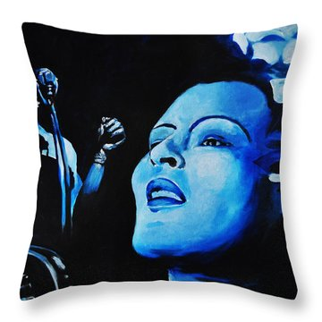 Lady Sings The Blues Throw Pillow by Ka-Son Reeves