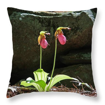 Lady Slippers At Moore State Park 5 Throw Pillow