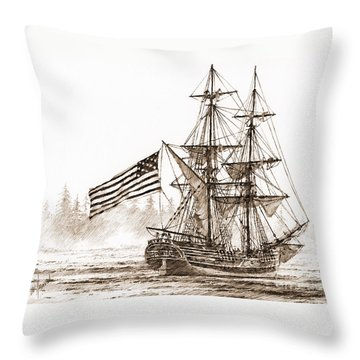 Lady Washington At Friendly Cove Sepia Throw Pillow by James Williamson