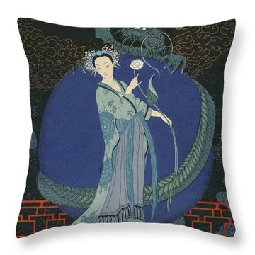 Lady With A Dragon Throw Pillow by Georges Barbier