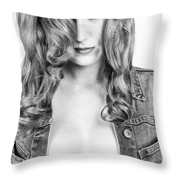 Lady With A Jeans Jacket Throw Pillow by Ralf Kaiser