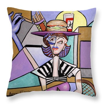 Lady With A Lunch Hat Throw Pillow by Anthony Falbo