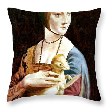 Lady With An Ermine Throw Pillow