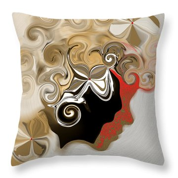 Lady With Curls Throw Pillow