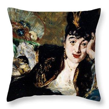 Lady With Fan Portrait Of Marie Anne De Callias Known As Nina De Callias Throw Pillow by Edouard Manet