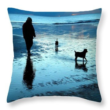 Lady With The Little Dogs Throw Pillow