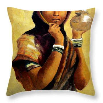 Lady With The Pot Throw Pillow by Farah Faizal