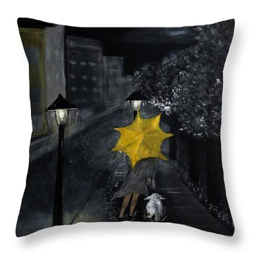 Lady With Yellow Umbrella And White Dog Throw Pillow