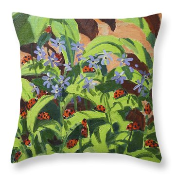 Ladybirds Throw Pillow by Andrew Macara