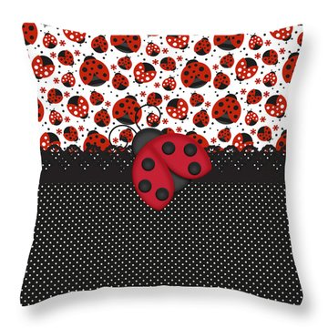 Ladybug Mood  Throw Pillow by Debra  Miller