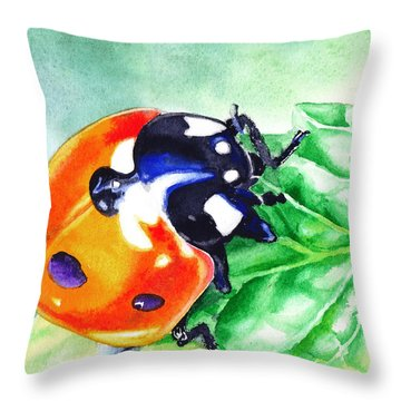 Ladybug On The Leaf Throw Pillow