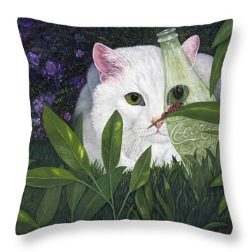 Throw Pillow featuring the painting Ladybugs And Cat by Karen Zuk Rosenblatt