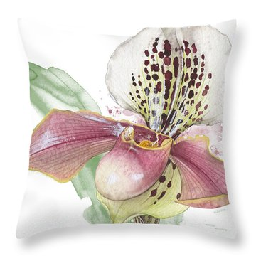 Ladys Slipper - Orchid 14 - Elena Yakubovich Throw Pillow