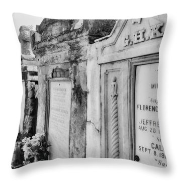 Lafayette Cemetery Black And White Throw Pillow