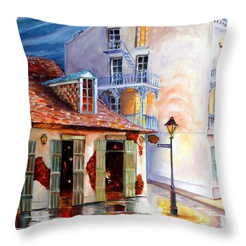 Lafitte's Guest House On Bourbon Throw Pillow by Diane Millsap