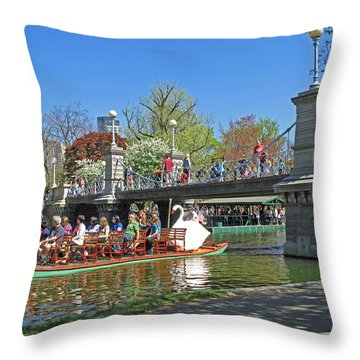 Lagoon Bridge And Swan Boat Throw Pillow