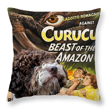 Lagotto Romagnolo Art Canvas Print - Curucu Movie Poster Throw Pillow