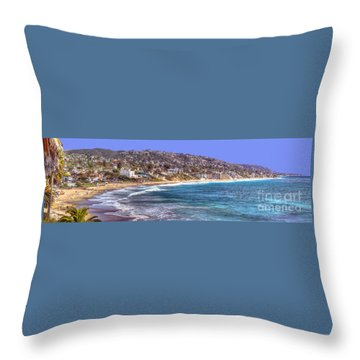 Laguna Beach Coast Panoramic Throw Pillow
