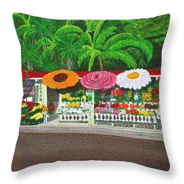 Laguna Beach Flower Stand Throw Pillow by Mike Robles