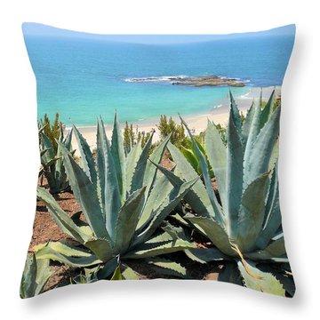 Laguna Coast With Cactus Throw Pillow