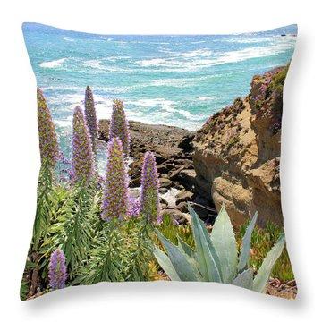 Laguna Coast With Flowers Throw Pillow